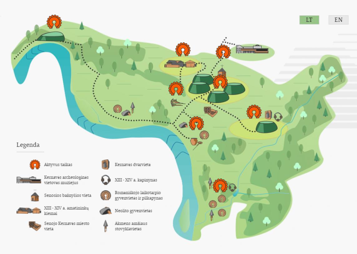 New! Virtual map of Kernavė archeological site