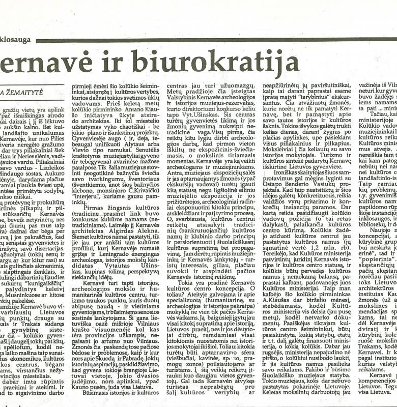 """A. Žemaitytės straipsnis """"Kernavė ir biurokratija"""", laikraštyje """"Vilniaus balsas"""" 1989 m."""