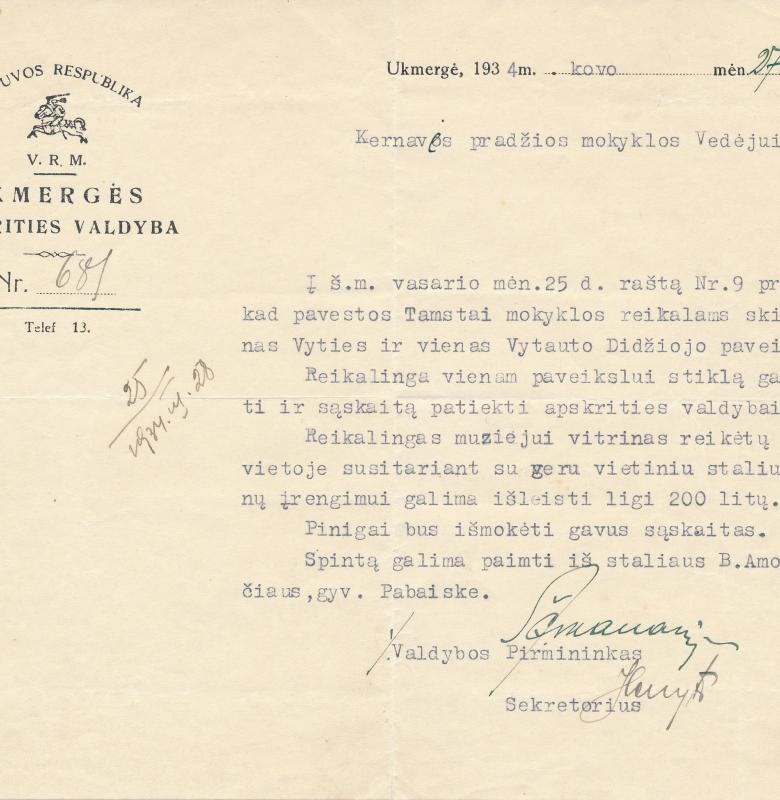 1934 m. muziejaus vitrinoms skiriamos papildomos lėšos iš Ukmergės apskrities valdybos