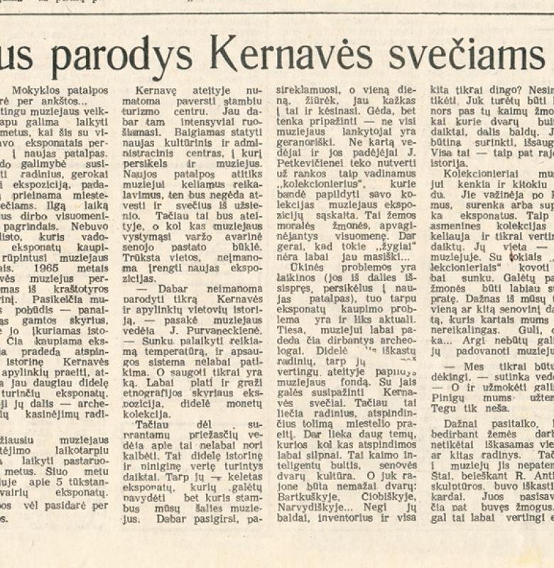 """Gintaro Bielskio straipsnis """"Ką muziejus parodys"""" laikraštyje """"Lenino vėliava"""" 1988 m."""