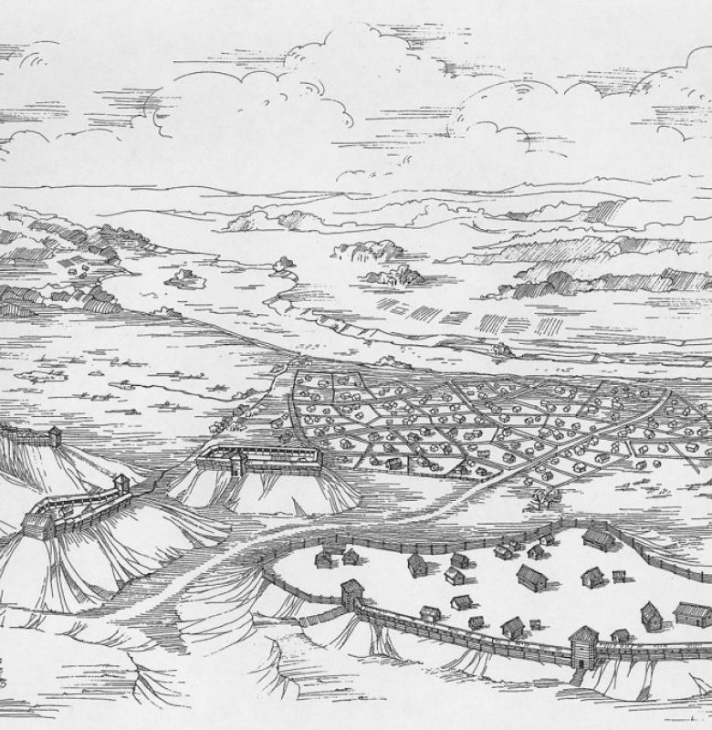Kernavė viduramžiais. Rekonstrukcijos autoriai –  A. Luchtanas, D. Grigonienė